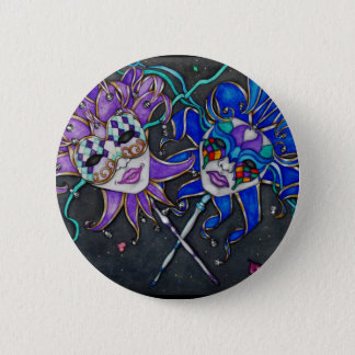 Comedy/Tragedy Jester Masks 2 Inch Round Button