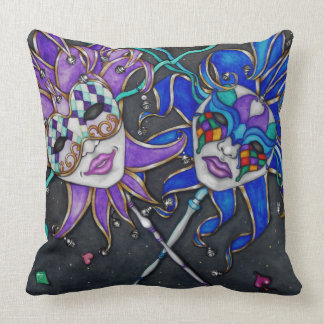 Comedy/Tragedy Jester Masks Throw Pillow