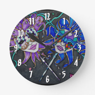 Comedy/Tragedy Jester Masks Wall Clocks