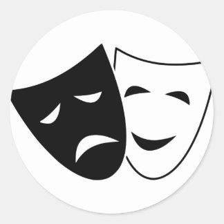 Comedy Tragedy Masks Classic Round Sticker