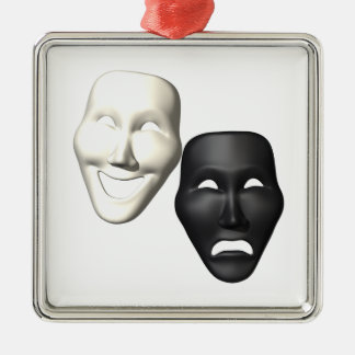 Comedy Tragedy Masks Metal Ornament