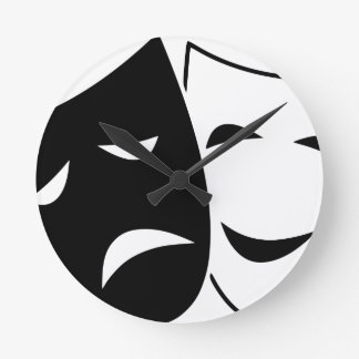 Comedy Tragedy Masks Round Clock