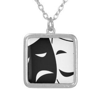 Comedy Tragedy Masks Silver Plated Necklace