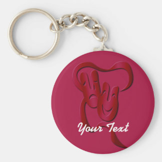 Comedy Tragedy Theater Mask Red Basic Custom BK Basic Round Button Keychain