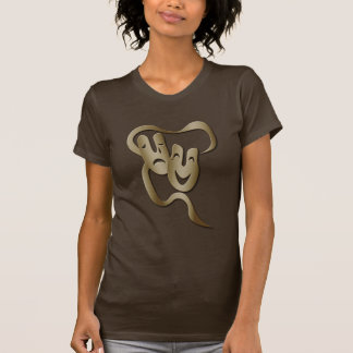 Comedy Tragedy Theatre Mask Women's Brown T T Shirts