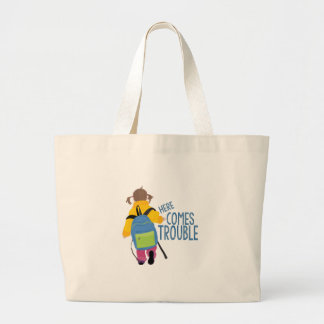 Comes Trouble Large Tote Bag