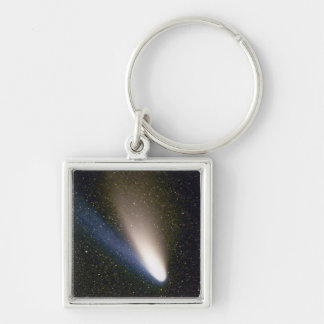 Comet Hale Bopp Silver-Colored Square Keychain