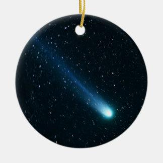 Comet in Night Sky Ceramic Ornament