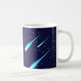 Comets in the starry space blue sky coffee mug