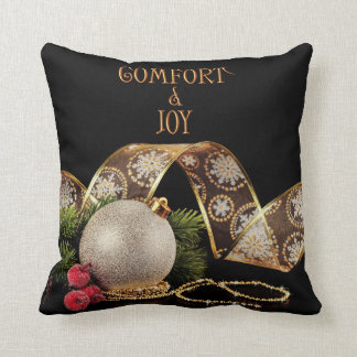 Comfort and Joy Ornament with Ribbon Throw Pillow