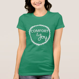 Comfort and Joy White Christmas Wreath T-shirt