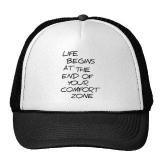 Comfort Zone Opinion Black Logo Funny Trucker Hat