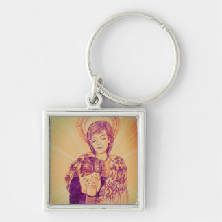 Comforting Angel by Carol Zeock Silver-Colored Square Keychain