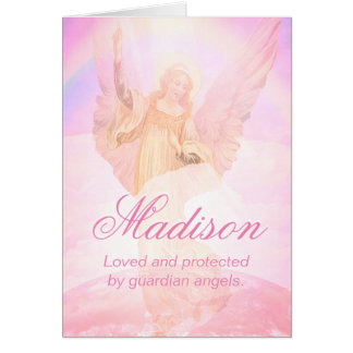 Comforting Custom Pink Guardian Angel Card