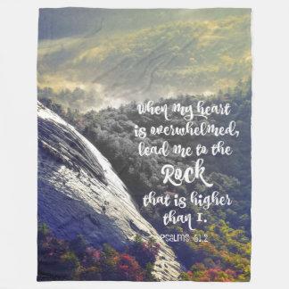 Comforting Psalms Scripture: Lead me to the Rock Fleece Blanket
