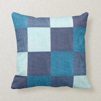 Comfty Blue Checkered Throw Pillow