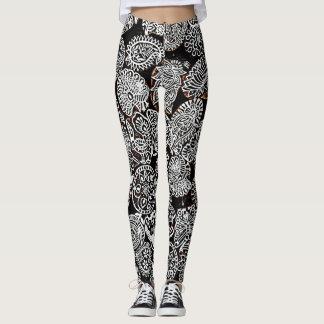 Comfy Hipster Leggings Black & White Paisley