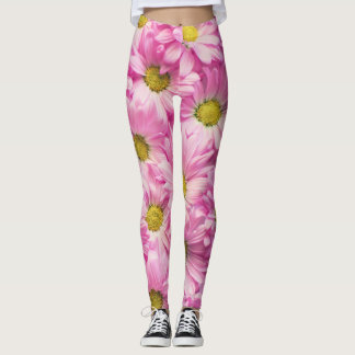 Comfy Hipster Leggings Pink Daisy