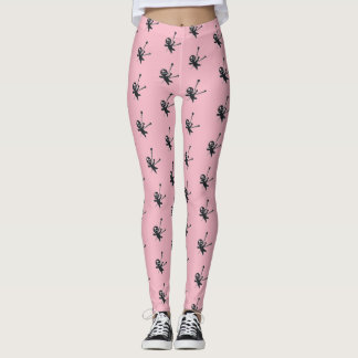 Comfy Hipster Leggings with voodoo dolls on pink