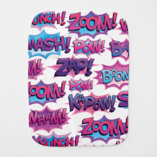 Comic Action Word Burp Cloth