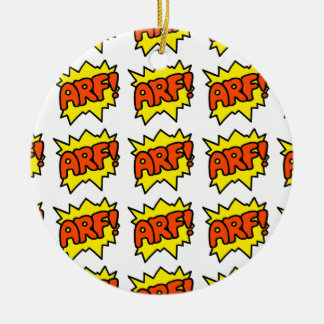 Comic 'Arf!' Round Ceramic Ornament