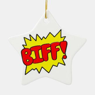 Comic 'Biff!' Ceramic Star Ornament