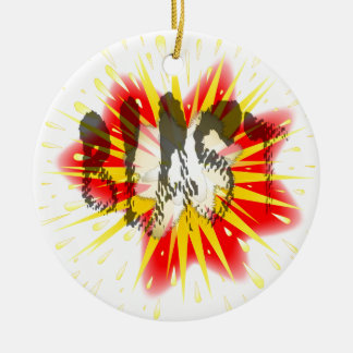 Comic Blast Round Ceramic Ornament
