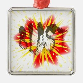 Comic Blast Silver-Colored Square Ornament