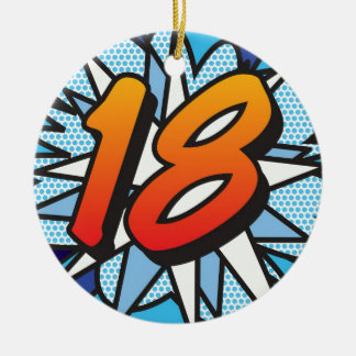Comic Book 18 and HAPPY BIRTHDAY Blue Round Ceramic Ornament