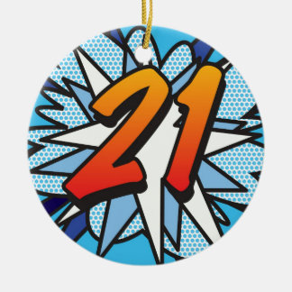 Comic Book 21 Blue Round Ceramic Ornament