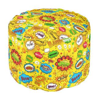 Comic Book 2 Sturdy Spun Polyester Round Pouf