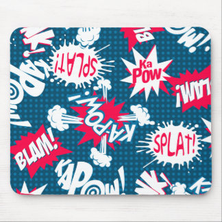 Comic book action words mouse pad