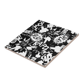 Comic book actions ceramic tiles