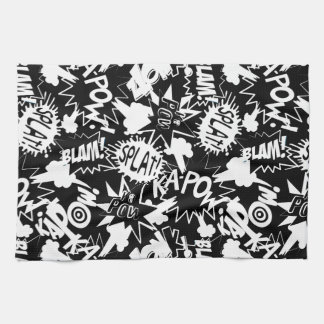 Comic book actions kitchen towel