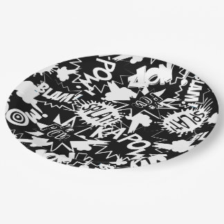 Comic book actions paper plate