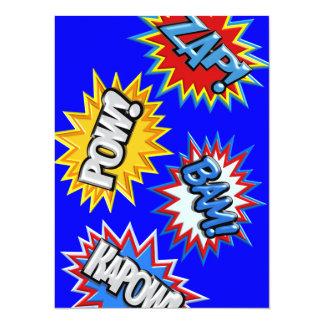 "Comic Book Bursts Pow 3D MODIFY COLOR 5.5"" X 7.5"" Invitation Card"