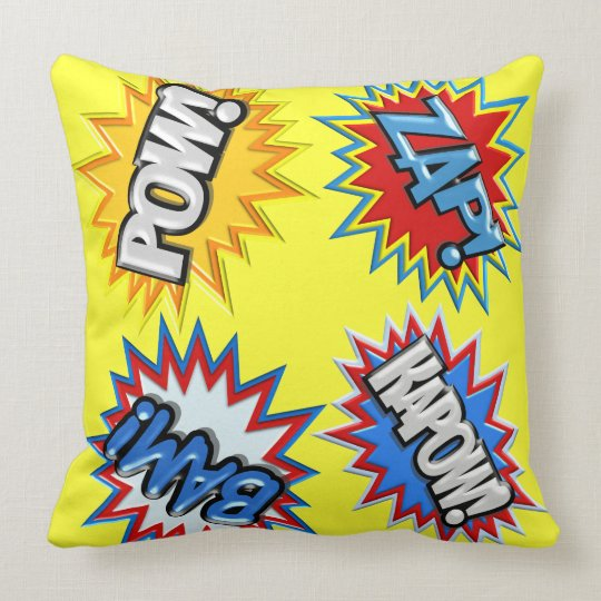 Comic Book Bursts Pow 3D MODIFY COLOR Throw Pillow