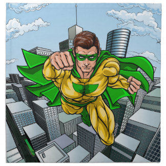 Comic Book Flying Superhero City Napkin