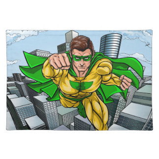 Comic Book Flying Superhero City Placemat