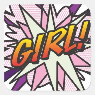 Comic Book GIRL! Square Sticker