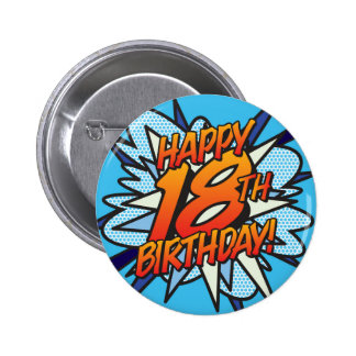 Comic Book HAPPY 18TH BIRTHDAY blue 2 Inch Round Button