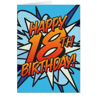 Comic Book HAPPY 18TH BIRTHDAY blue Card