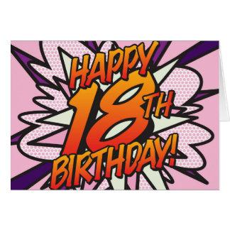 Comic Book HAPPY 18TH BIRTHDAY! pink Card