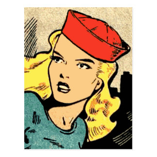 Comic Book Heroine in a Red Hat Postcard