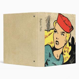 Comic Book Heroine in a Red Hat Vinyl Binders