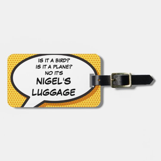 Comic Book IS IT A BIRD? personalized luggage tag