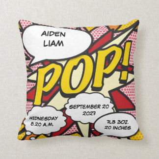 Comic Book Pop Art Birth Stats Personalised Throw Pillow