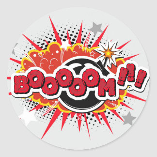 Comic Book Pop Art Boom Explosion Classic Round Sticker