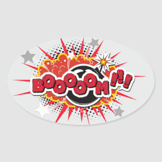 Comic Book Pop Art Boom Explosion Oval Sticker