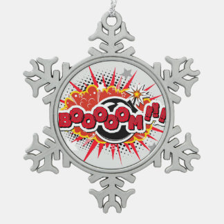 Comic Book Pop Art Boom Explosion Snowflake Pewter Christmas Ornament